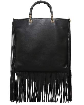 Gucci Bamboo Fringe Shopper Tote Tall Black