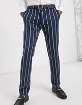 Lockstock Ascot stripe suit pants in navy pinstripe