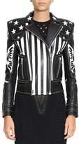 Balmain American Flag Biker Leather Jacket