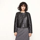 Maje Cropped bonded leather jacket