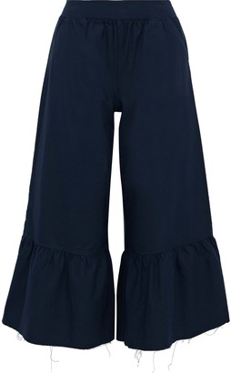 ATM Anthony Thomas Melillo Cropped Ruffled Cotton-oxford Wide-leg Pants