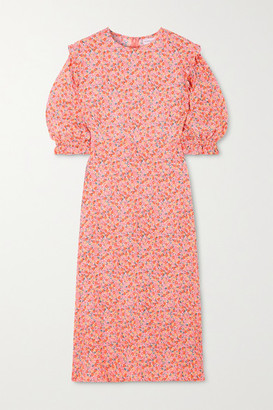 Faithfull The Brand Jean-marie Floral-print Crepe Midi Dress - Pink
