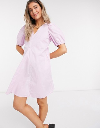 Pieces poplin smock dress with v neck and puff sleeve in orchid