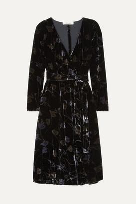 Diane von Furstenberg Tilla Floral-print Velvet Wrap Dress - Black
