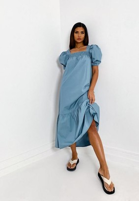 Missguided Blue Puff Sleeve Square Neck Smock Midi Dress
