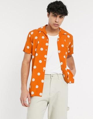 Selected short sleeve revere collar polka dot shirt in orange