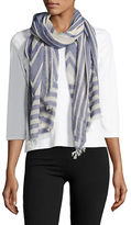 Lord & Taylor Geometric-Printed Cotton-Blend Scarf