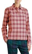 Burberry Pearl Trim Signature Plaid Blouse
