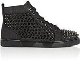 Christian Louboutin Men's Louis Orlato Flat Leather Sneakers-BLACK