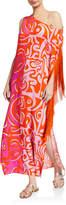 Emilio Pucci Fringed One-Shoulder Long Coverup Dress