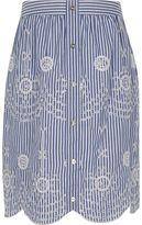 River Island Girls blue stripe embroidered midi skirt