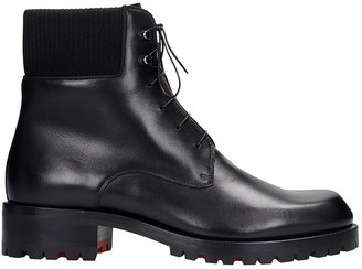 Christian Louboutin Trapman Combat Boots In Black Leather