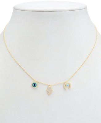 Alanna Bess Limited Collection 14K Over Silver Cz Hamsa Necklace