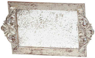 Abigails Antiqued Mirror Vanity Tray, Silver