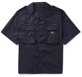 Prada Logo-Appliqued Camp-Collar Nylon Shirt