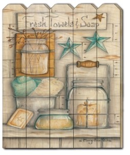 "Trendy Décor 4U Fresh Towels Soap by Mary Ann June, Printed Wall Art on a Wood Picket Fence, 16"" x 20"""