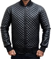 The Custom Jacket Mens Slim Fit Jacket - Quilted Stylish Biker Leather Motorcycle Bomber Coat (XL, )