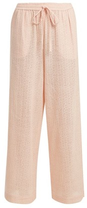 Marysia Swim Embroidered-cotton Wide-leg Trousers - Womens - Pink