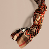 Burberry The Lightweight Cashmere Scarf In Check And Floral Print, Brown