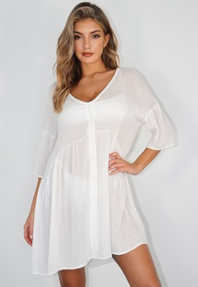 Missguided White Cheesecloth Beach Cover Up Shift Dress