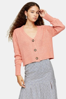 Topshop Womens Coral Cropped Knitted Cardigan - Coral