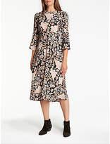 Somerset by Alice Temperley Fireflower Crew Neck Midi Dress, Black