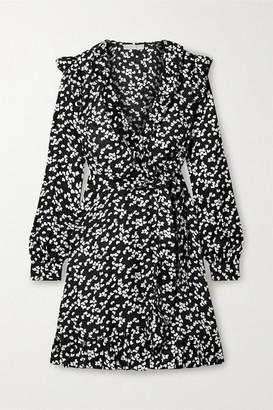 MICHAEL Michael Kors Ruffled Printed Silk-blend Satin-jacquard Wrap Dress - Black