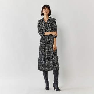 Warehouse BRUSHED CHECK MIDI SHIRT DRESS