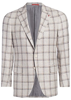 Isaia Plaid Silk Wool Jacket