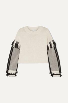 3.1 Phillip Lim Cropped Fringed Cotton-blend Sweater - Ecru