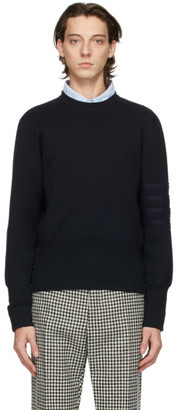 Thom Browne Navy Merino Milano Stitch 4-Bar Sweater