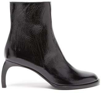 Ann Demeulemeester Curved-heel Grained-leather Ankle Boots - Womens - Black