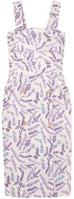 Max Mara Zolder Button-embellished Floral-print Cotton Dress