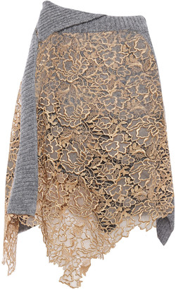 Acne Studios Asymmetric Guipure-lace And Ribbed Wool Skirt