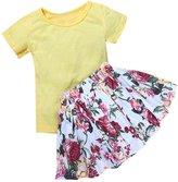 DETALLAN Floral Baby Girl Dress Short Sleeve Top T-Shirt+Skirt Outfits Set Clothes
