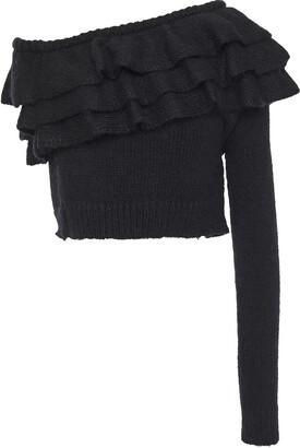 Philosophy di Lorenzo Serafini One-shoulder Tiered Ruffled Knitted Sweater