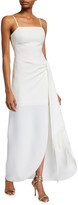 LIKELY Renata Spaghetti-Strap Side-Drape Gown