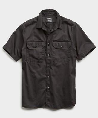 Todd Snyder Italian Two Pocket Utility Short Sleeve Shirt in Black