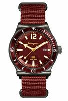 Salvatore Ferragamo 43mm 1898 Sport Men's Watch w/ Canvas Strap, Gray/Rust