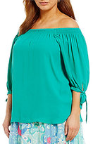 Peter Nygard Plus Smock Neck Blouse