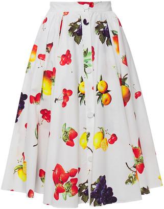 MSGM Flared Gathered Printed Cotton-poplin Skirt