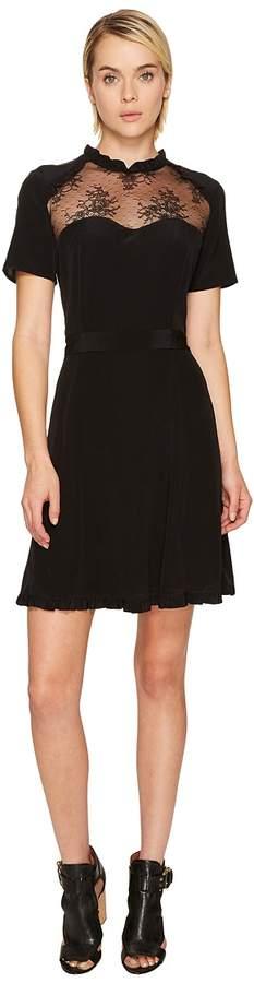 The Kooples Short Sleeve Dress in Silk Taffeta Women's Dress