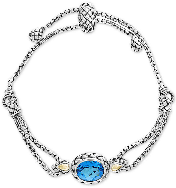 Effy Balissima by Blue Topaz Slider Bracelet (5-3/4 ct. t.w.) in Sterling Silver & 18k Gold