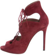Tabitha Simmons Suede Lace-Up Pumps