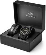 Armani Exchange Analog Bracelet Watch & Leather Strap Set