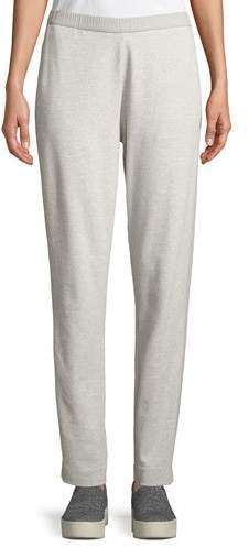 Joan Vass Side-Striped Interlock Knit Casual Pants, Plus Size