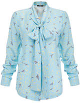 Raoul Flora Blue Printed Silk Pussybow Blouse