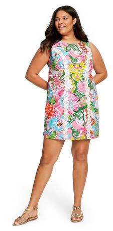 for Target Women\'s Plus Size Nosey Posie Sleeveless Round Neck Shift Mini  Dress