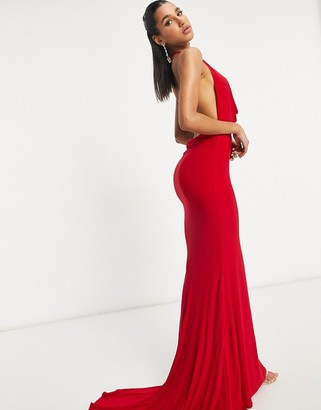 Club L London cowl neck low back maxi dress in red