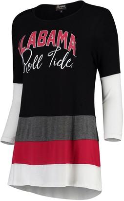 Women's Charcoal/Crimson Alabama Crimson Tide Block Party Color Blocked Drapey Long Sleeve Tri-Blend Tunic Shirt